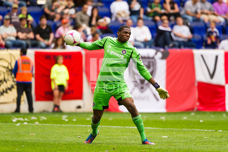 Chicago Fire goalkeeper Sean Johnson (25). The Chicago Fire defeated the New York Red Bulls 2-0 during a Major League Soccer (MLS) match at Red Bull Arena in Harrison, NJ, on October 06, 2012.