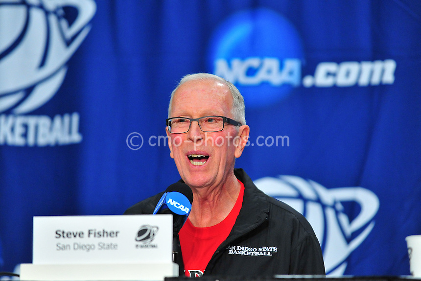 Mar 16, 2011; Tucson, AZ, USA; San Diego State Aztecs head coach Steve Fisher during a press conference the day before the second round of the 2011 NCAA men's basketball tournament at the McKale Center.