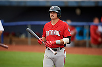 Potomac Nationals third baseman Jake Noll (13) at bat during the first game of a doubleheader against the Salem Red Sox on June 11, 2018 at Haley Toyota Field in Salem, Virginia.  Potomac defeated Salem 9-4.  (Mike Janes/Four Seam Images)