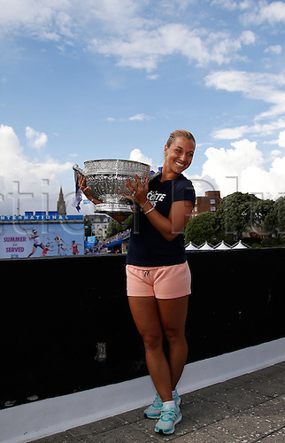 25.06.2016 Eastbourne, England. Aegon International Eastbourne Tennis Tournament with her winners trophy after winning her Women's single final against Karolina Pliskova (CZE)