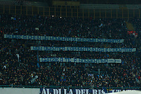 Napoli's fans hold a banner in honor of   film director Paolo Sorrentino who won the Academy Award Oscar for best foreign film during the Italian Serie A soccer match between SSC Napoli and AS Roma   at San Paolo stadium in Naples, March 09 , 2014<br /> striscione per paolo sorrentino