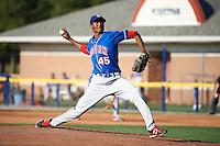 Auburn Doubledays pitcher Pedro Encarnacion #45 during a NY-Penn League game against the Batavia Muckdogs at Dwyer Stadium on September 2, 2012 in Batavia, New York.  Batavia defeated Auburn 8-7.  (Mike Janes/Four Seam Images)