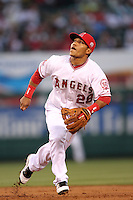 Alexi Amarista #28 of the Los Angeles Angels plays second base during game against the Atlanta Braves at Angel Stadium in Anaheim,California on May 21, 2011. Photo by Larry Goren/Four Seam Images