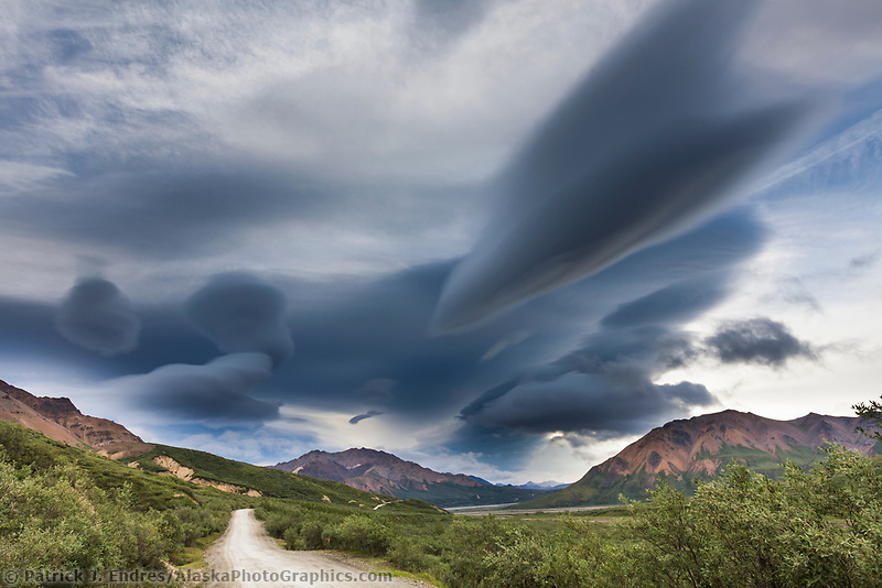 Dramatic clouds over the mountains looking east towards Polychrome Pass on the Denali Park road, Denali National Park road, Interior, Alaska.