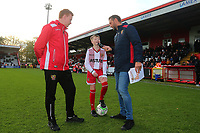The mascot is interviewed during Stevenage vs Notts County, Sky Bet EFL League 2 Football at the Lamex Stadium on 11th November 2017