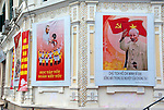 Hanoi, Vietnam, Propaganda posters cover government buildings in the heart of the city. photo taken July 2008.