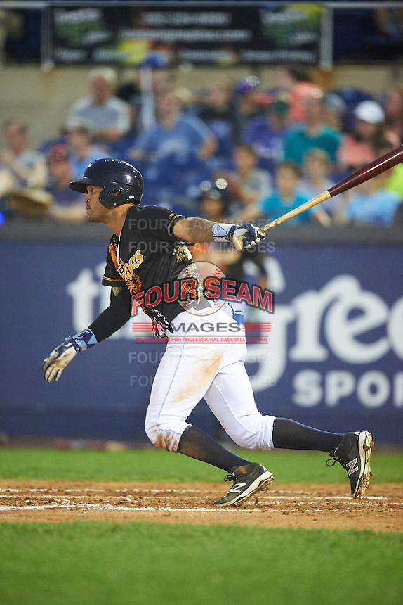 Wilmington Blue Rocks shortstop Humberto Arteaga (23) at bat during a game against the Lynchburg Hillcats on June 3, 2016 at Judy Johnson Field at Daniel S. Frawley Stadium in Wilmington, Delaware.  Lynchburg defeated Wilmington 16-11 in ten innings.  (Mike Janes/Four Seam Images)