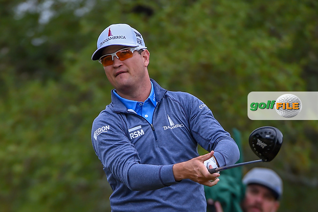 Zach Johnson (USA) watches his tee shot on 2 during Round 3 of the Valero Texas Open, AT&T Oaks Course, TPC San Antonio, San Antonio, Texas, USA. 4/21/2018.<br /> Picture: Golffile | Ken Murray<br /> <br /> <br /> All photo usage must carry mandatory copyright credit (© Golffile | Ken Murray)