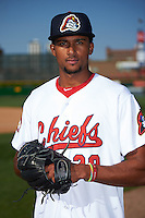 Peoria Chiefs pitcher Sandy Alcantara (29) poses for a photo before a game against the Dayton Dragons on May 6, 2016 at Dozer Park in Peoria, Illinois.  Peoria defeated Dayton 5-0.  (Mike Janes/Four Seam Images)