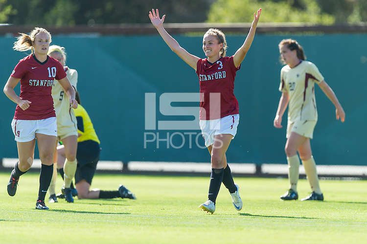 STANFORD, CA - August 31, 2012: Natalie Griffen celebrates her goal during the Stanford women's soccer match vs Boston College in Stanford, California. Stanford tied 1-1.