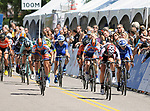 August 10, 2017 - Colorado Springs, Colorado, U.S. -  Pro women sprint to the finish during the opening stage of the inaugural Colorado Classic cycling race, Colorado Springs, Colorado.  Jenn Valente is victorious in the women's race.
