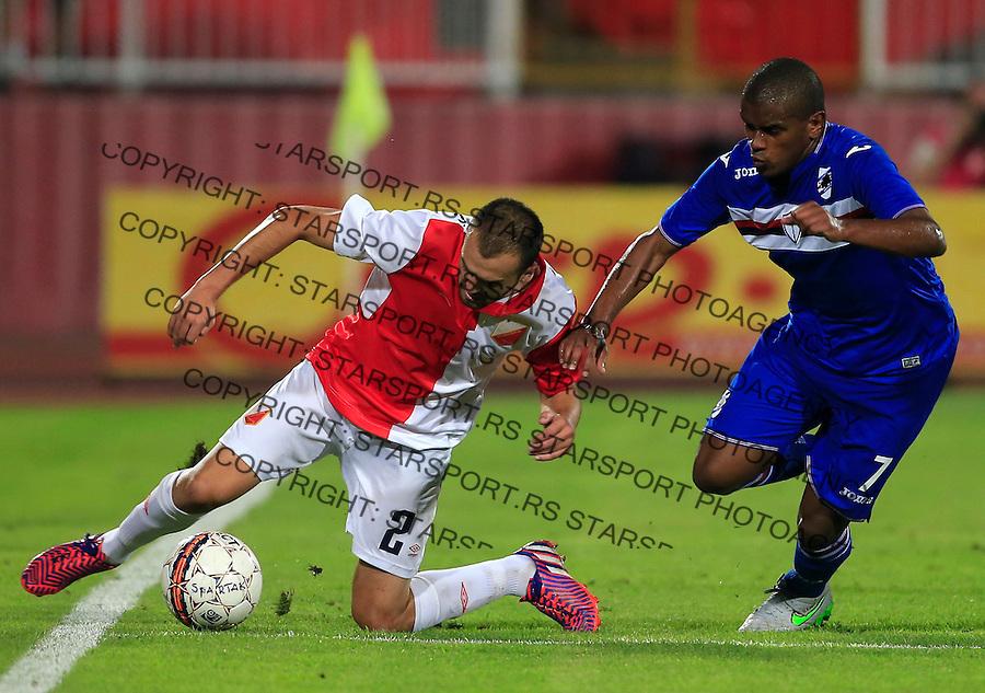 Fudbal UEFA Europa League season 2014-2015<br /> Second qualifying round, Second leg<br /> Vojvodina v Samdoria<br /> Jovica Vasilic (L) and Fernando (R)<br /> Novi Sad, 05.08.2015.<br /> foto: Srdjan Stevanovic/Starsportphoto &copy;