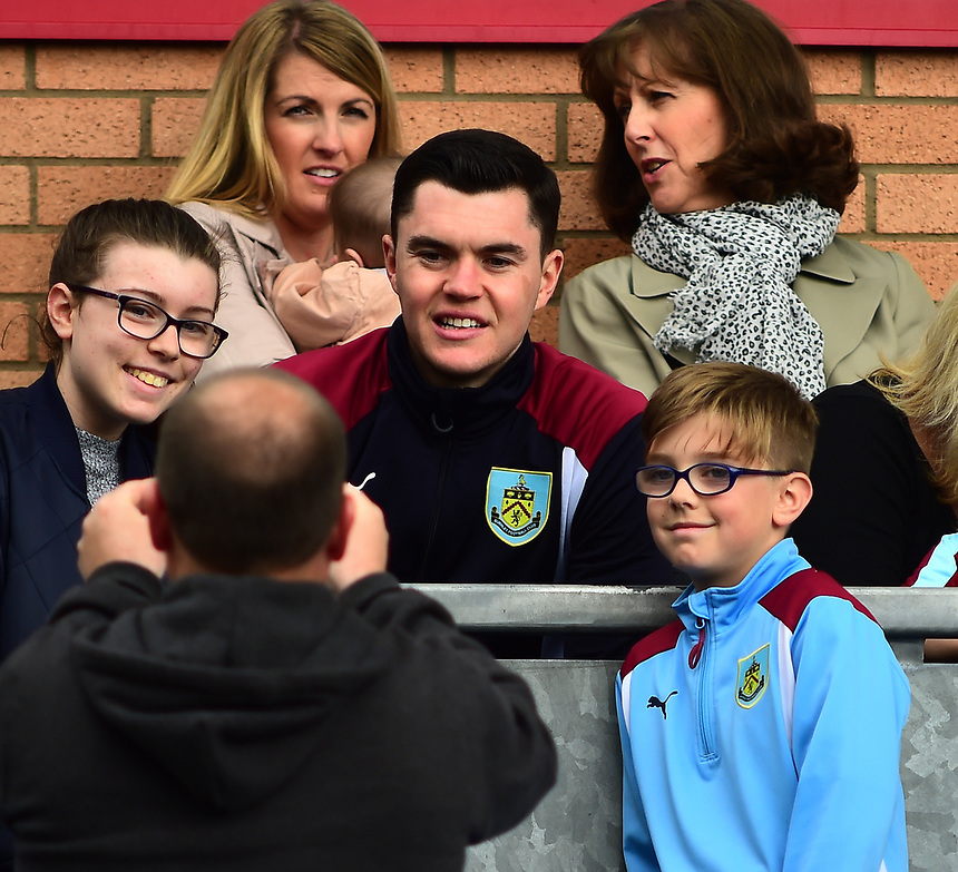 Burnley's Michael Keane in the stands before kick off<br /> <br /> Photographer Andrew Vaughan/CameraSport<br /> <br /> The Premier League - Burnley v West Ham United - Sunday 21st May 2017 - Turf Moor - Burnley<br /> <br /> World Copyright &copy; 2017 CameraSport. All rights reserved. 43 Linden Ave. Countesthorpe. Leicester. England. LE8 5PG - Tel: +44 (0) 116 277 4147 - admin@camerasport.com - www.camerasport.com