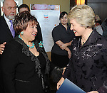 Honoree Trini Mendenhall Sosa,at left, is congratulated by Mayor Annise Parker at the Heart of Gold Celebration benefitting Neighborhood Centers Inc at the Hilton Americas Hotel Thursday Feb. 25,2010. (Dave Rossman Photo)