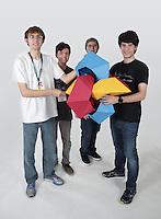 OrigamiUSA 2016 Convention at St. John's University, Queens, New York, USA. Oversized 9' x 9' paper folding event. First timers. Left to right: Aaron Pfitzenmaier, TX, Alec Sherwin, CA, Byriah Loper, KY, Zander Bolgar, NY.