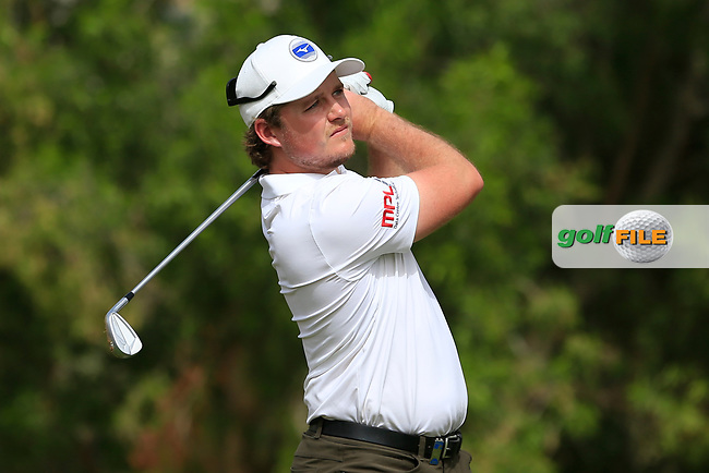 Eddie Pepperell (ENG) on the 4th tee during Round 1 of the Omega Dubai Desert Classic, Emirates Golf Club, Dubai,  United Arab Emirates. 24/01/2019<br /> Picture: Golffile | Thos Caffrey<br /> <br /> <br /> All photo usage must carry mandatory copyright credit (© Golffile | Thos Caffrey)