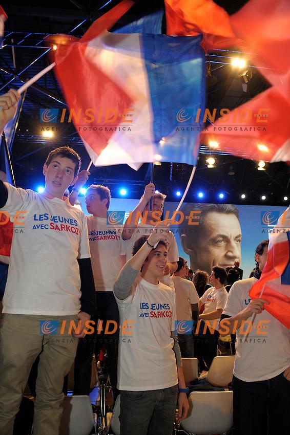Sostenitori di Nicolas Sarkozy.Marsiglia 19/2/2012.Campagna elettorale Presidenziali 2012.Foto Insidefoto / Franck Pennant / Panoramic.ITALY ONLY