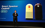 "June 15, 2017, Tokyo, Japan - Japan's SNS giant LINE CSMO Jun Masuda speaks at the LINE conference 2017 in Tokyo on Thursday, June 15, 2017. LINE displayed the portable smart speaker system ""Champ"" using LINE's AI platform Clova. (Photo by Yoshio Tsunoda/AFLO) LwX -ytd-"
