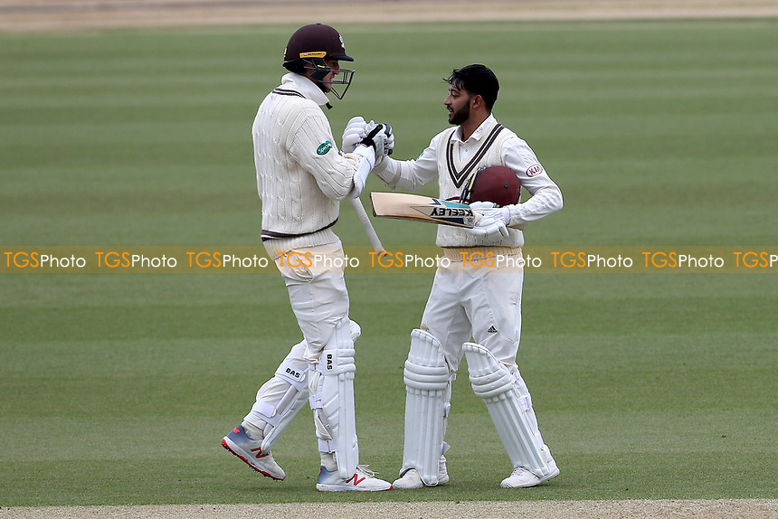 Morne Morkel congratulates Ryan Patel (R) on reaching his century during Surrey CCC vs Essex CCC, Specsavers County Championship Division 1 Cricket at the Kia Oval on 12th April 2019