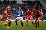 01.02.2020 Rangers v Aberdeen: Alfredo Morelos crowded out by Andrew Considine, Scott McKenna and Dean Campbell