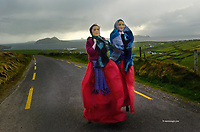 DINGLE FESTIVAL LAUNCH 3-5-06<br /> Stilt walkers Kate O'Sullivan (11) and Aisling O'Connor, (11) pictured rehearsing for the street theatre  based on Blasket Island inhabitants at the launch of  Feile na Bealtaine which will take place in Dingle County Kerry this weekend. The festival which will feature 10 major concerts including the Chieftains on Sunday May 14th in the local church. There will also be drama, literature, art and a retrospective on the making of Ryans Daughter by RTE camerman Godfrey Graham. <br /> Picture by Don MacMonagle <br /> <br /> <br /> &copy; Photo by Don MacMonagle - macmonagle.com<br /> info@macmonagle.com