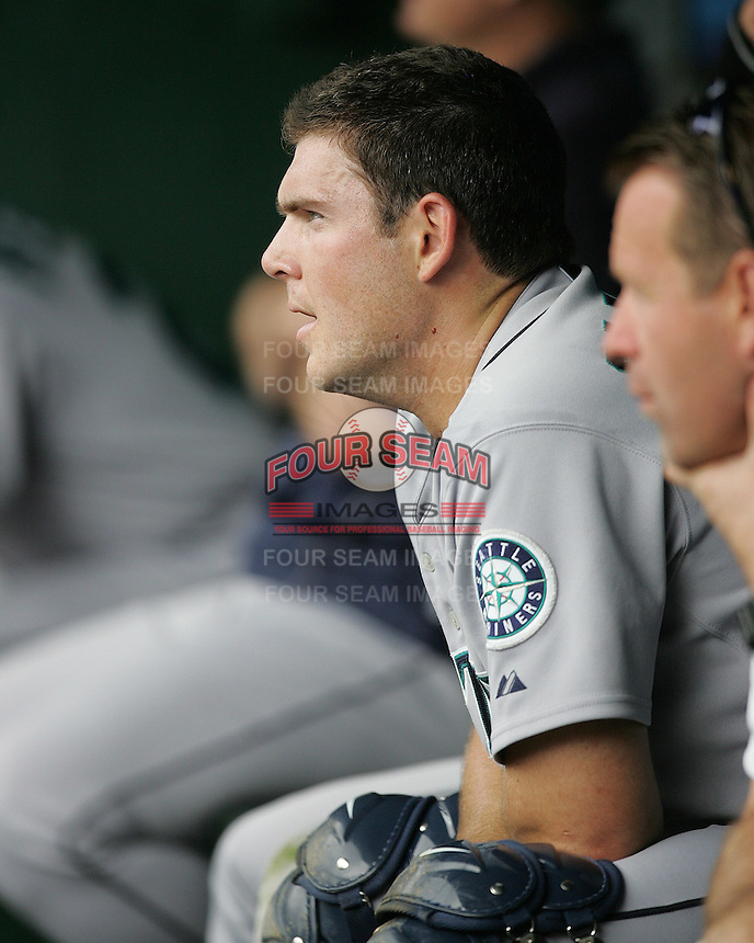 Seattle Mariners C Jeff Clement against the Texas Rangers on May 14th, 2008 at Texas Rangers Ball Park. Photo by Andrew Woolley / Four Seam Images.