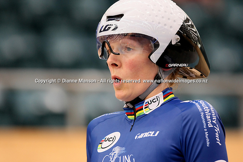 Southland's Erin Criglington competes in the Masters W1  2000m Individual Pursuit Final at the Age Group and Omnium track national championships, SIT Zero Fees Velodrome, Invercargill, New Zealand, Thursday, March 06, 2013. Credit:NINZ/Dianne Manson