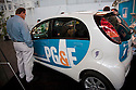 PG&E electric vehicle testing project using a MiEV (Mitsubishi Innovative Electric Vehicle). West Coast Green is the nation's largest conference and expo dedicated to green innovation, building, design and technology. The conference featured over 300 exhibitors, 125 speakers, and 80 education and networking sessions. Fort Mason, San Francisco, California, USA. Photo taken October 2, 2009.