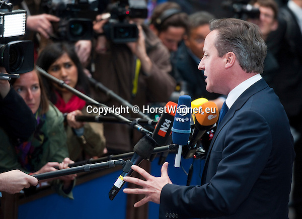 Brussels-Belgium - May 27, 2014 -- European Council, EU-summit, meeting of Heads of State / Government for an informal dinner to evaluate and to conclude the results of the European elections; here, arrival of David CAMERON, Prime Minister of the United Kingdom -- Photo: © HorstWagner.eu