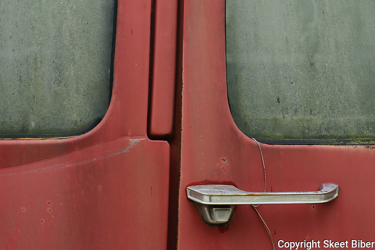 Vintage truck door and frosted glass