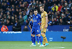 Leicester's Jame Vardy watches Tottenham's Harry Kane during the Premier League match at the King Power Stadium, Leicester. Picture date: May 18th, 2017. Pic credit should read: David Klein/Sportimage