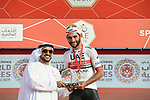 Fernando Gaviria (COL) UAE Team Emirates wins Stage 2 of the 2019 UAE Tour, running 184km form Yas Island Yas Mall to Abu Dhabi Breakwater Big Flag, Abu Dhabi, United Arab Emirates. 25th February 2019.<br /> Picture: LaPresse/Fabio Ferrari | Cyclefile<br /> <br /> <br /> All photos usage must carry mandatory copyright credit (© Cyclefile | LaPresse/Fabio Ferrari)