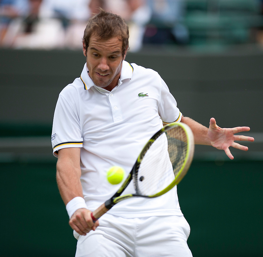 Richard Gasquet (FRA) [9] in action during his Gentlemen's Singles Second Round match against Go Soeda (JPN) today<br /> <br />  (Photo by Stephen White/CameraSport) <br /> <br /> Tennis - Wimbledon Lawn Tennis Championships - Day 4 Thursday 27th June 2013 -  All England Lawn Tennis and Croquet Club - Wimbledon - London - England<br /> <br /> &copy; CameraSport - 43 Linden Ave. Countesthorpe. Leicester. England. LE8 5PG - Tel: +44 (0) 116 277 4147 - admin@camerasport.com - www.camerasport.com.