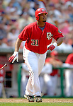 17 June 2006: Daryle Ward (left), first baseman for the Washington Nationals, hits a solo home run against the New York Yankees at RFK Stadium, in Washington, DC. The Nationals overcame a seven run deficit to win 11-9 in the second game of the interleague series...Mandatory Photo Credit: Ed Wolfstein Photo...