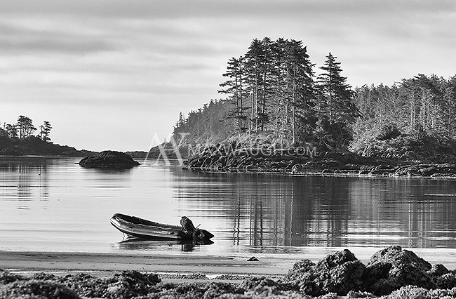 A Zodiac is anchored along some of the beautiful coastline of British Columbia.<br />