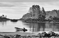 A Zodiac is anchored along some of the beautiful coastline of British Columbia.<br /> <br /> This image is also available in color.