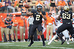 Wake Forest Demon Deacons quarterback Kendall Hinton (2) passes the ball during second half action against the Clemson Tigers at BB&T Field on October 6, 2018 in Winston-Salem, North Carolina. the Tigers defeated the Demon Deacons 63-3. (Brian Westerholt/Sports On Film)