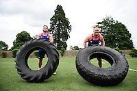 Max Lahiff and Ross Batty of Bath Rugby in action during a Bath Rugby photoshoot on June 21, 2016 at Farleigh House in Bath, England. Photo by: Patrick Khachfe / Onside Images