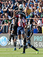 Santa Clara, California - Sunday May 13th, 2012: Nick LaBrocca of Chivas USA defending Khari Stephenson of San Jose Earthquakes during a Major League Soccer match at Buck Shaw Stadium