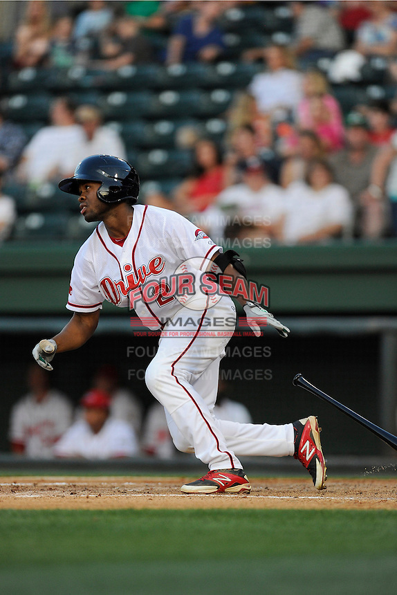 Center fielder Manuel Margot (2) of the Greenville Drive in a game against the Augusta GreenJackets on Friday, May 23, 2014, at Fluor Field at the West End in Greenville, South Carolina. (Tom Priddy/Four Seam Images)