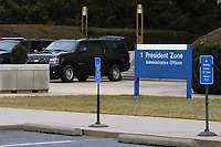 Vehicles from United States President Donald J. Trump's motorcade park outside Walter Reed National Military Medical Center as  he undergoes his annual physical examination January 12, 2018 in Bethesda, Maryland. Trump will next travel to Florida to spend the Dr. Martin Luther King Jr. Day holiday weekend at his Mar-a-Lago resort. <br /> Credit: Chip Somodevilla / Pool via CNP /MediaPunch