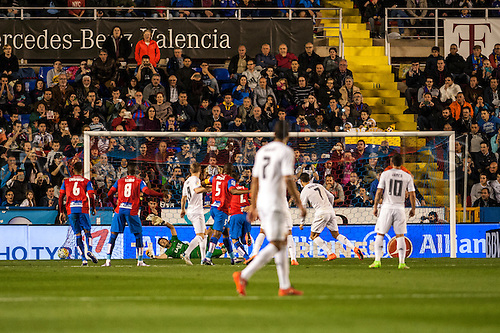 02.03.2016. Valencia, Spain. La Liga football. Levante versus Real Madrid.   Cristiano Ronaldo scores his goal for Real Madrid in the 34th minute from the penalty spot
