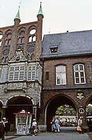 Lubeck: East side of wall of Rathaus Arcade with, to left, a stone staircase, 1594, in Dutch Renaissance style. Photo '87.