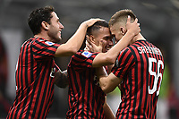 Ismael Bennacer of AC Milan celebrates with Davide Calabria and Alexis Saelemaekers after scoring a goal during the Serie A football match between AC Milan and Bologna FC at stadio Giuseppe Meazza in Milano ( Italy ), July 18th, 2020. Play resumes behind closed doors following the outbreak of the coronavirus disease. <br /> Photo Image Sport / Insidefoto