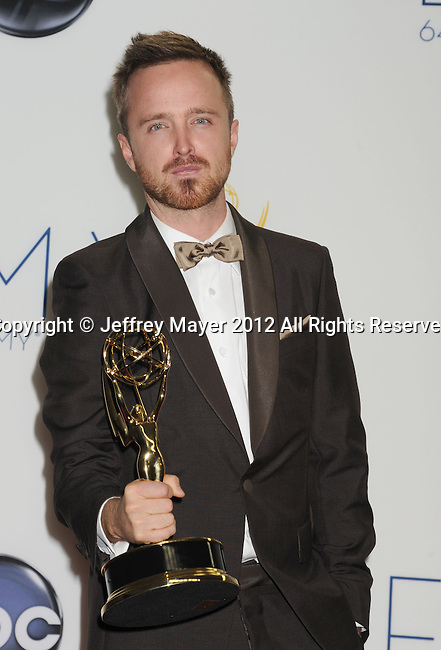 LOS ANGELES, CA - SEPTEMBER 23: Aaron Paul poses in the press room at the 64th Primetime Emmy Awards held at Nokia Theatre L.A. Live on September 23, 2012 in Los Angeles, California.