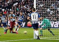 1st February 2020; London Stadium, London, England; English Premier League Football, West Ham United versus Brighton and Hove Albion; Glenn Murray  of Brighton and Hove Albion shoots and scores an 80th minute equaliser to level the score at 3-3