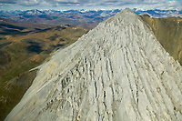 Aerial view of a mountain ridge in the Davidson Mountains of the Brooks Range mountains, Arctic National Wildlife Refuge, Alaska