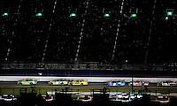Jul. 5, 2008; Daytona Beach, FL, USA; NASCAR Sprint Cup Series driver Kyle Busch (18) leads Carl Edwards (99) Matt Kenseth (17) Kurt Busch (2) David Ragan (6) and Mark Martin (8) during the Coke Zero 400 at Daytona International Speedway. Mandatory Credit: Mark J. Rebilas-