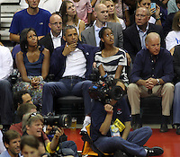 Washington, D.C- July 16 2012: President Barack Obama and daughter Sasha and Michelle Obama and Joe Biden and with his daughter at the USA Basketball game at Verizon Center in Washington, D.C. © mpi34/MediaPunch Inc.