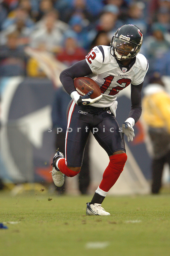 JACOBY JONES, of the Houston Texans in action during the Texans game against the Tennessee Titans on December 2, 2007 in Nashville, Tennessee...TITANS  win 28-20..SportPics